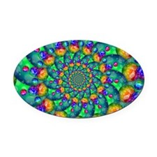 Rainbow Turquoise Fractal Oval Car Magnet