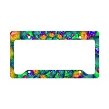 Rainbow Turquoise Fractal License Plate Holder