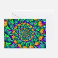 Rainbow Turquoise Fractal Greeting Card