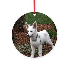 White Shepherd Pup Round Ornament