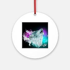 Northern Lights Wolf Spirit Round Ornament