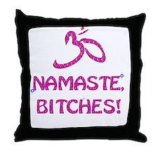 Namaste Bitches- Pink Glitter Effect Throw Pillow