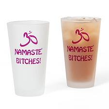 Namaste Bitches- Pink Glitter Effec Drinking Glass