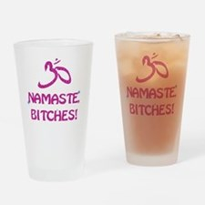 Namaste Bitches- Pink Glitter Effec Drinking Glass