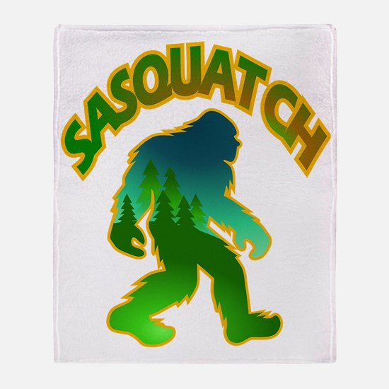 Sasquatch Forest Scene Throw Blanket