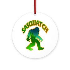 Sasquatch Forest Scene Round Ornament