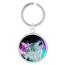 Northern Lights Wolf Spirit Round Keychain