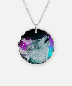 Northern Lights Wolf Spirit Necklace Circle Charm