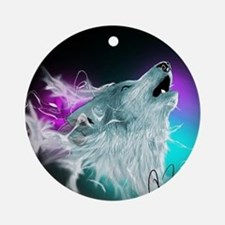 Northern Lights Wolf Spirit Round Ornament