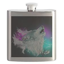 Northern Lights Wolf Spirit Flask
