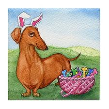 Funny Easter Dachshund Tile Coaster
