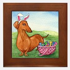 Funny Easter Dachshund Framed Tile