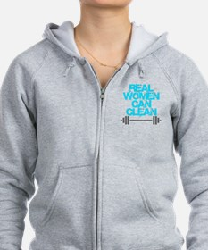Real Women Can Clean (Light Blu Zip Hoodie