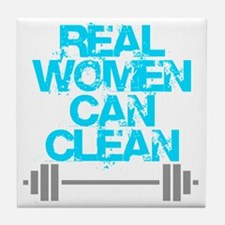 Real Women Can Clean (Light Blue) Tile Coaster