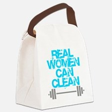 Real Women Can Clean (Light Blue) Canvas Lunch Bag