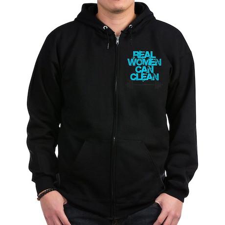 Real Women Can Clean (Light Blue Zip Hoodie (dark)