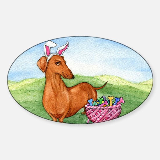 Easter Dachshund Sticker (Oval)