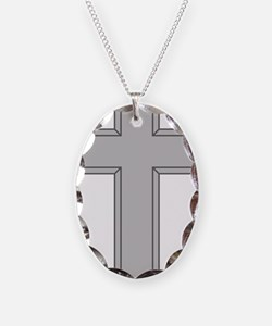 Silver Cross Necklace Oval Charm
