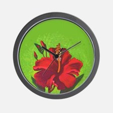 Vintage Red Hibiscus Special Order Wall Clock