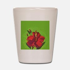 Vintage Red Hibiscus Special Order Shot Glass