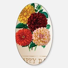 Happy Day Dahlias Sticker (Oval)