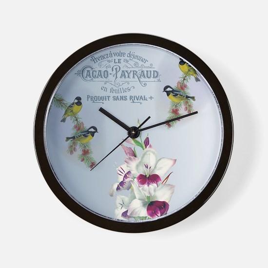 Birds Gladioli vintage Wall Clock