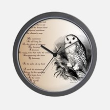 Owl with poem Wall Clock