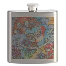 Whimsical Indian Summer Bird Floral Mexican  Flask