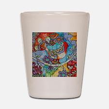 Whimsical Indian Summer Bird Floral Mex Shot Glass