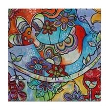 Whimsical Indian Summer Bird Floral M Tile Coaster