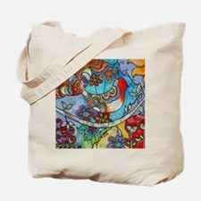 Whimsical Indian Summer Bird Floral Mexic Tote Bag