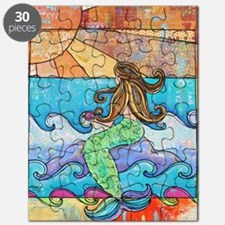 Colorful Mermaid at Sunset Beach Puzzle