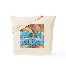 Colorful Mermaid at Sunset Beach Tote Bag