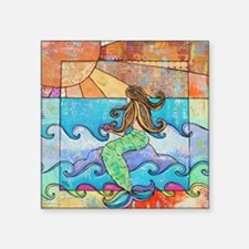 "Colorful Mermaid at Sunset  Square Sticker 3"" x 3"""