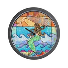 Colorful Mermaid at Sunset Beach Wall Clock