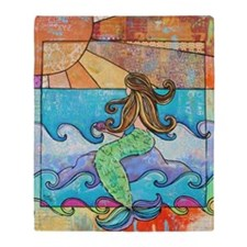 Colorful Mermaid at Sunset Beach Throw Blanket