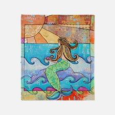 Colorful Mermaid at Sunset Beach Throw Blanket