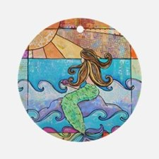 Colorful Mermaid at Sunset Beach Round Ornament