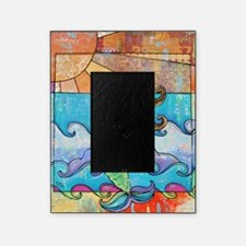 Colorful Mermaid at Sunset Beach Picture Frame