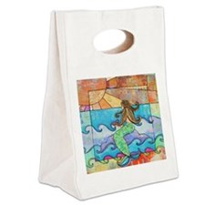 Colorful Mermaid at Sunset Beach Canvas Lunch Tote