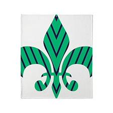 Green and Blue Strip Fleur-de-lis Throw Blanket