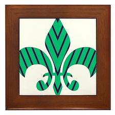 Green and Blue Strip Fleur-de-lis Framed Tile