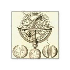 "Armillary sphere, 18th cent Square Sticker 3"" x 3"""