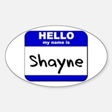hello my name is shayne Oval Decal
