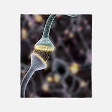 Nerve synapse, artwork Throw Blanket