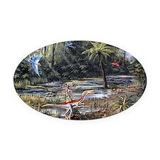 Cretaceous life, artwork Oval Car Magnet