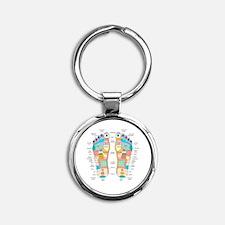 Reflexology foot map, artwork Round Keychain
