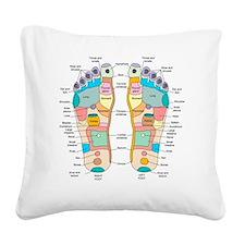 Reflexology foot map, artwork Square Canvas Pillow