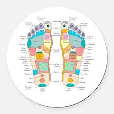 Reflexology foot map, artwork Round Car Magnet