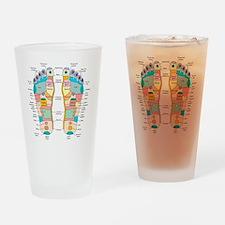 Reflexology foot map, artwork Drinking Glass